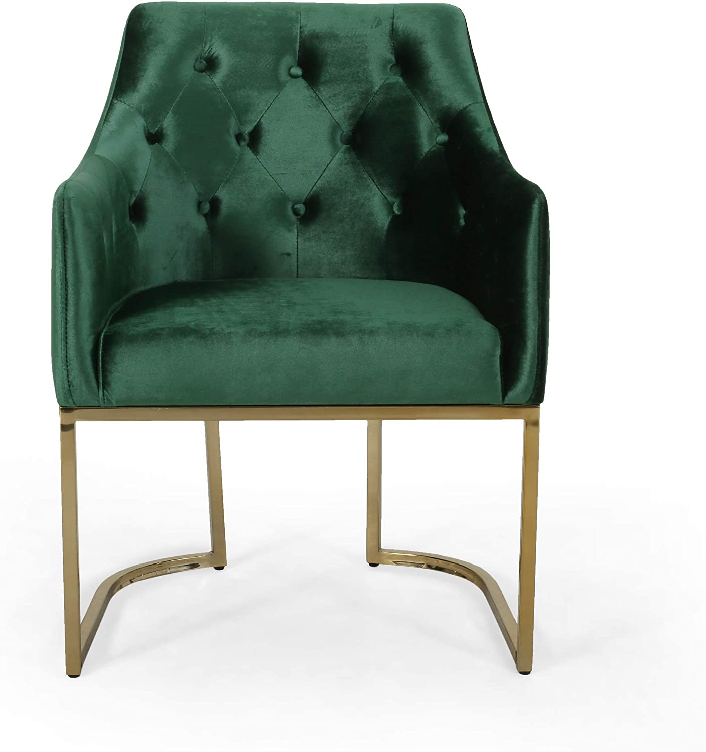 Christopher Knight Home Fern Modern Tufted Glam Accent Chair with Velvet Cushions and U-Shaped Base, Emerald and Gold Finish