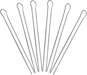 Roth & Rose Stainless Steel Metal BBQ Shish Kabob Skewers for Grilling – Pack of 6 – Long 12 Inch Metal Barbecue Kabob Skewer Sticks for Cookouts – Sturdy Double Prong, Reusable, Easy to Clean