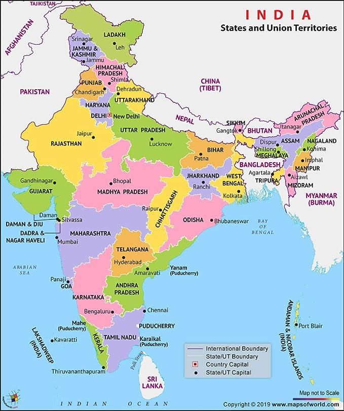 India Politica Cartina.India Mappa Politica 91 4 Cm W X 103 4 Cm H Amazon It Cancelleria E Prodotti Per Ufficio