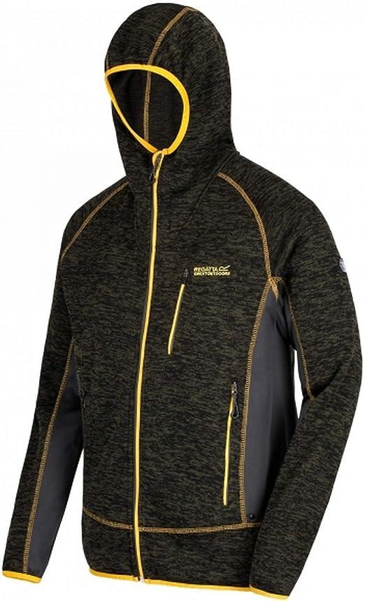 Regatta Mens Cartersville V Full Zip Hooded Fleece Jacket Top Grey Sports