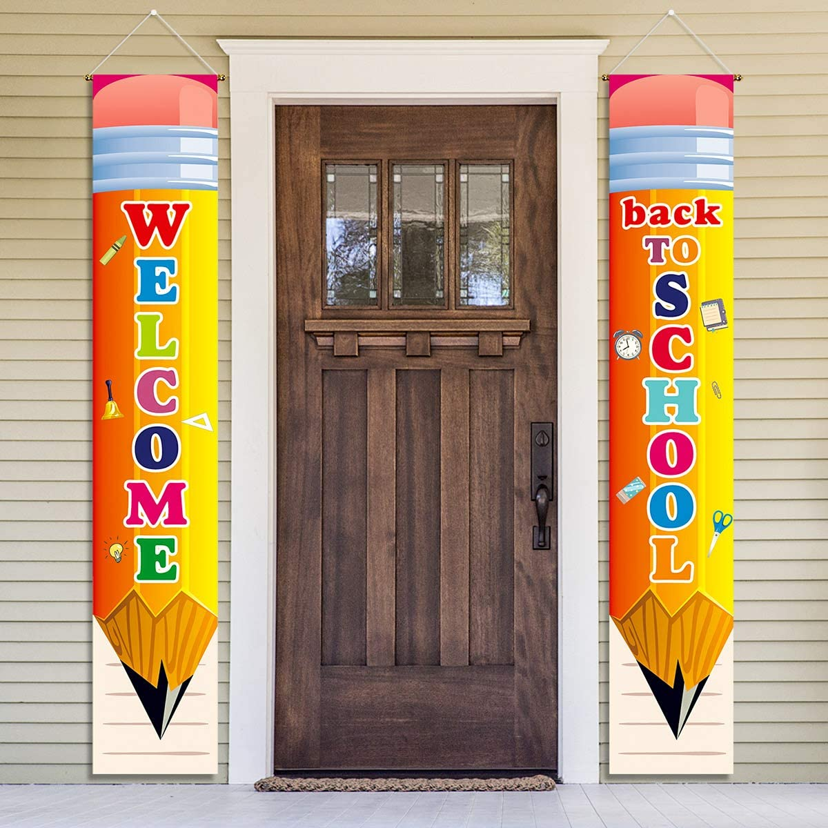 Welcome Back to School Party Decorations Porch Sign Hanging Backdrop Banner 2020 - First Day Of School Party Supplies Classroom Office School Photo Booth Prop Wall Hanging Decorations Indoor/Outdoor