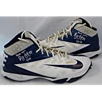 Ryan Griffin Houston Texans Autographed 2014 Nike Game Worn Cleats Blue/White - NFL Autographed Game Used Cleats photo