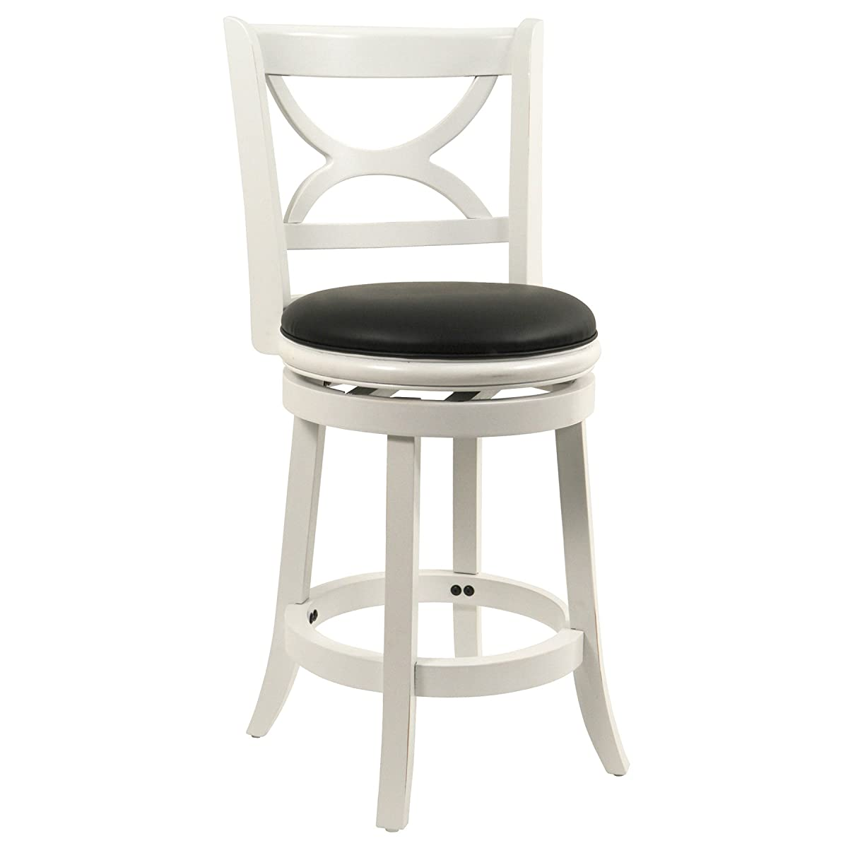 Boraam 43724 Florence Counter Height Swivel Stool, 24-Inch, Distressed White