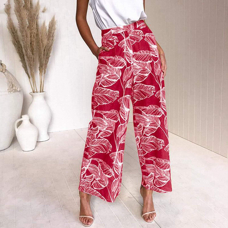 Love /& Freedome Women Holiday Boho Print Long Pants 2019 Summer Casual High Waist Wide Leg Beach Plus Size Pants