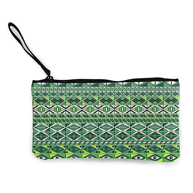 7d49c9ce35 African Green Colors Pattern Canvas Change Coin Purse Small Cute Wallet Bag  With Zip