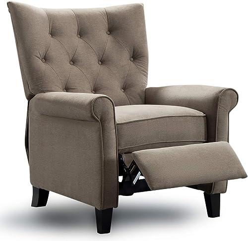 ANJ Recliner Elizabeth Accent Chair for Living Room Easy to Push Mechanism, Elegant Roll Arm Chair for Bedroom Khaki