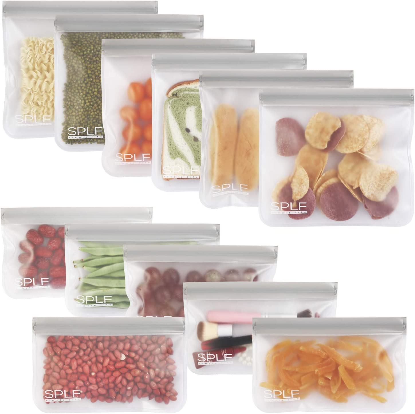 SPLF 12 Pack BPA FREE Reusable Storage Bags (6 Reusable Sandwich Bags, 6 Reusable Snack Bags), Extra Thick Freezer Bags Leakproof Silicone and Plastic Free Lunch Bags for Food Storage