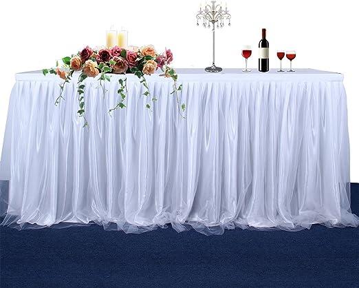 Amazon.com: Falda de mesa de tul, color blanco/azul/rosa ...
