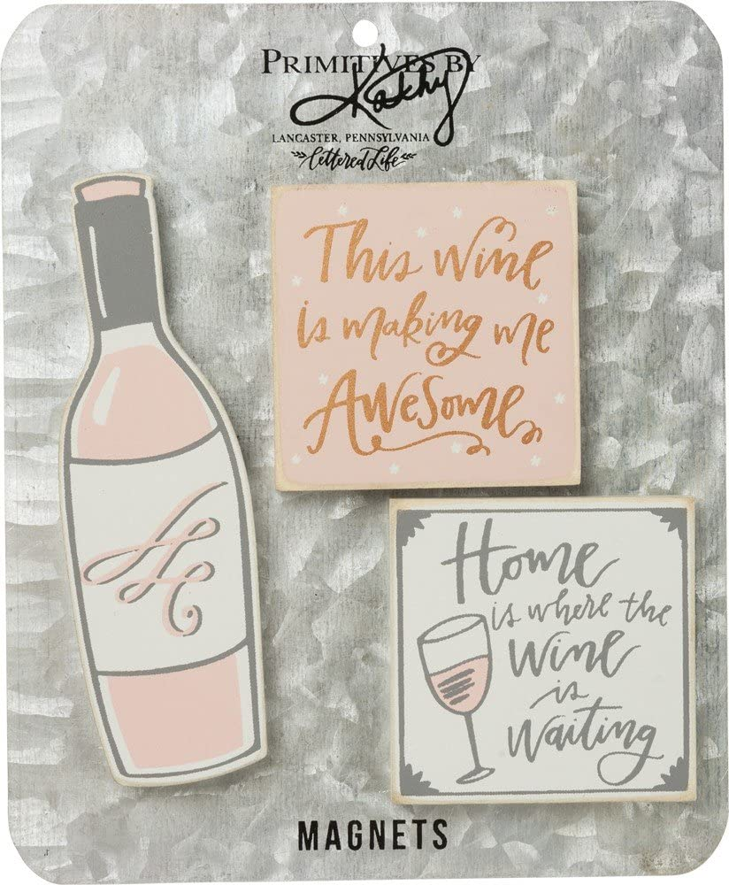 Primitives by Kathy Rustic Style Magnets, Set of 3, Wine Because Adulting Is Hard