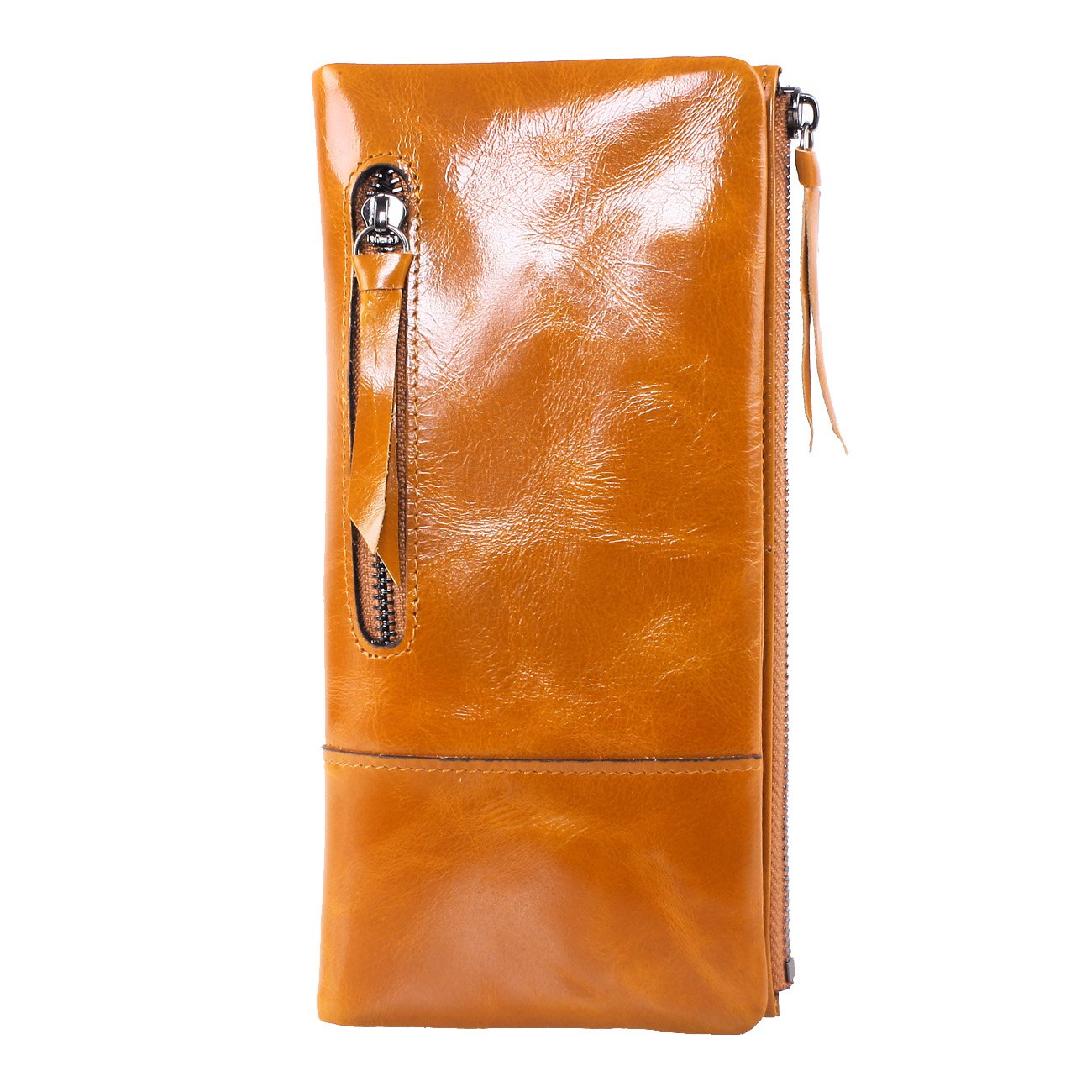 AINIMOER New Women Fashion Waxy Leather Vintage Billfold Long Wallet Casual Simple Style Mini Clutch Card Holder Zipper Closure Money Clip(Brown)