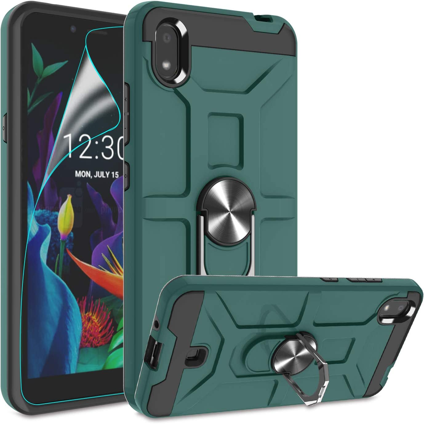 Atump LG K20 2019 Case with HD Screen Protector, 360° Rotation Ring Holder Kickstand [Work with Magnetic Car Mount] PC+ TPU Phone Case for LG K20 2019, Midnight Green