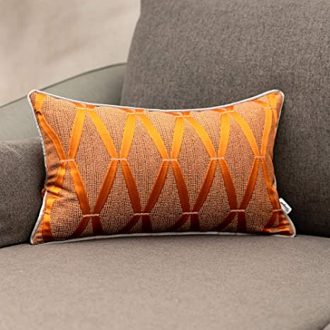 Amazon Com Yangest 12 X 20 Inch Burnt Orange Satin Textured Lumbar Throw Pillow Cover Diamond Plaid Rectangle Cushion Case Luxury Modern Geometric Decorative Pillowcase For Couch Sofa Living Room Bedroom Car Home