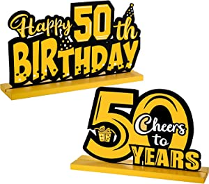2 Happy 50th Birthday Party Table Decorations, Cheer to 50 Years Table Centerpiece Sign Wooden Birthday Gifts Table Topper Paperweights 50 Fabulous Party Dinner 50th Tablecover Home, 7.87 x 4.72 Inch