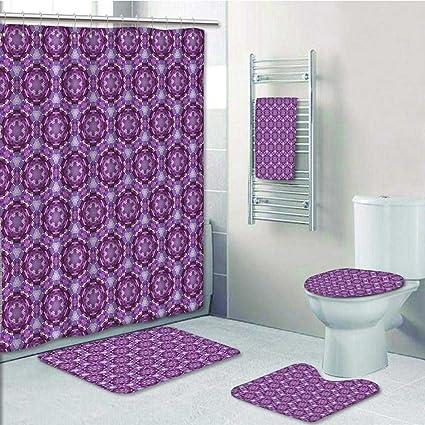 PRUNUS Designer Bath Polyester 5 Piece Bathroom SetPrimitive Style Inspired Unusual Shapes Dark