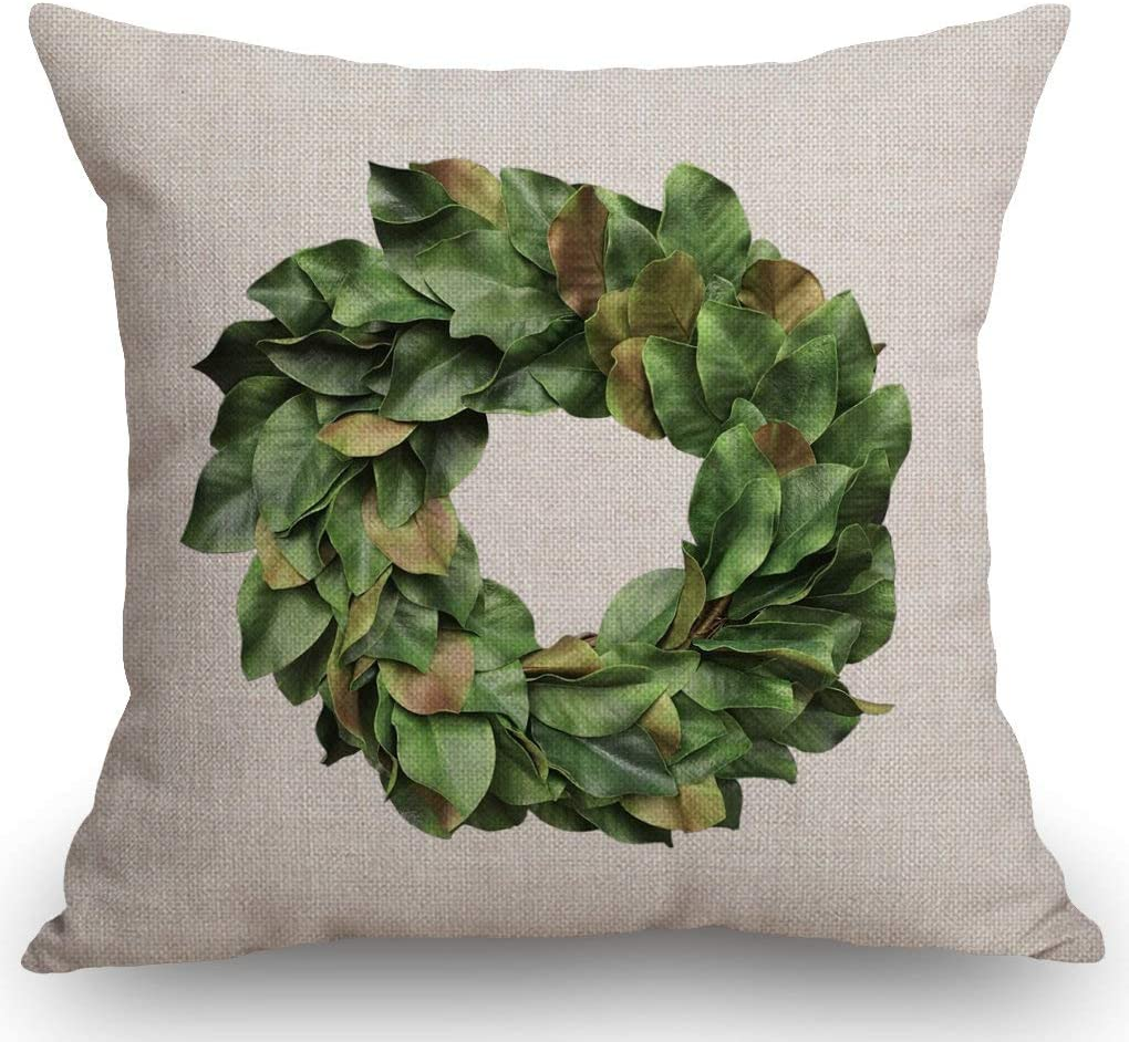 SSOIU Magnolia Leaves Wreath Throw Pillow Covers Farmhouse Decorative Square Pillow Covers 18x18 Inches for Farmhouse Home Decor