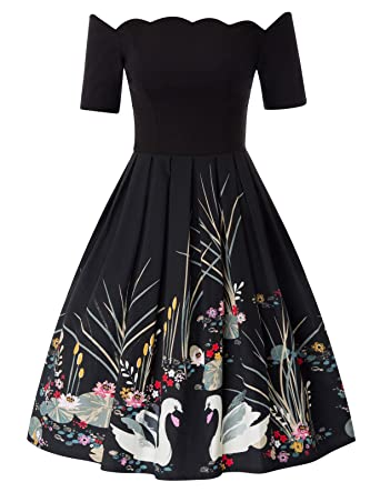 4a556592a14e Women's 1950s Retro Vintage Short Sleeve Party Swing Dress Floral-1(734)  Small