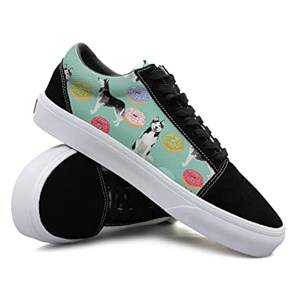 Siberian Husky And Donuts Women Casual Shoes Sneakers Skateboard Athletic Spring Gym