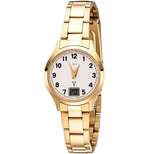 Jobo Mujer Reloj De Pulsera Two-Way Radio Reloj Acero Inoxidable Oro Dorado Mujer Reloj con fecha: Amazon.es: Relojes