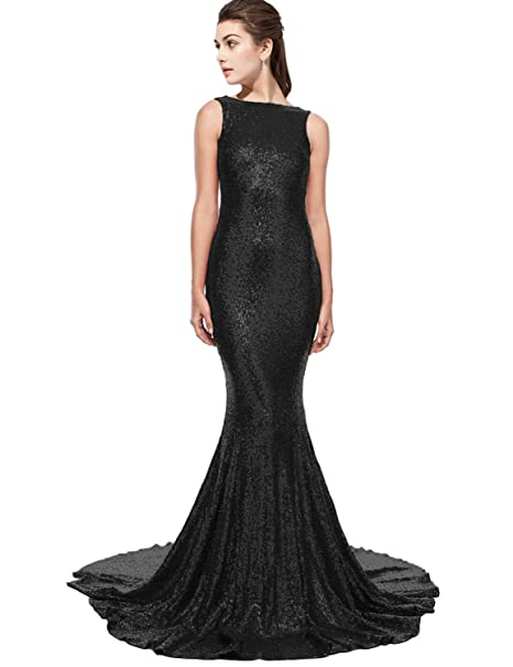 c530730835fa DarlingU Women s 2018 New Backless Mermaid Sequins Formal Prom Evening  Party Dresses Court Train Black 2