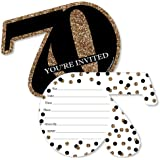 Big Dot of Happiness Adult 70th Birthday - Gold - Shaped Fill-In Invitations - Birthday Party Invitation Cards with Envelopes - Set of 12
