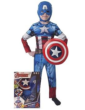 Avengers - Disfraz de Capitán América con escudo para niños, infantil 5-6 años (Rubies 620551-M)