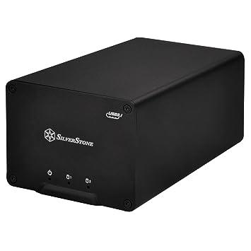 """SilverStone SST-DS223 - Carcasa para disco duro externo USB 3.1 Gen 2 con almacenamiento Raid de 2 bahías, para HDD o SSD de 2,5"""", negro"""