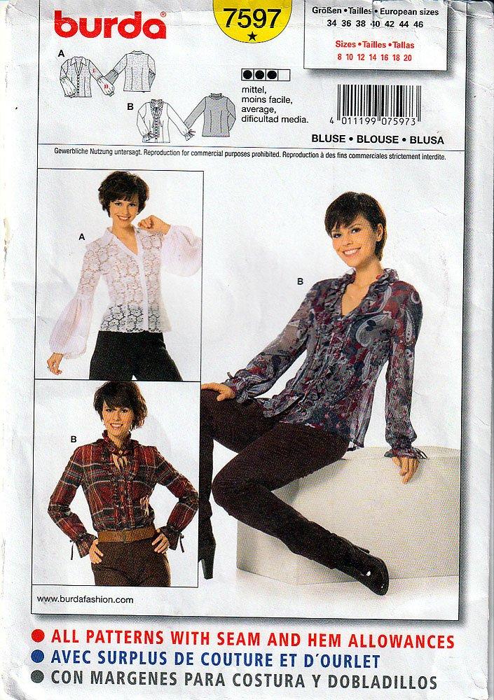 Burda 7597 - Patrón de costura para mujer (tallas 8 a 20): Amazon.es ...