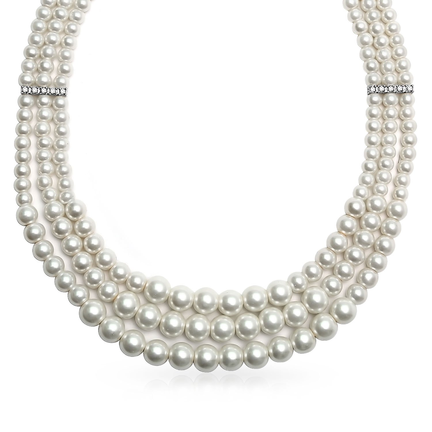 Bling Jewelry 3 Strand Simulated White Pearl Rhodium Plated Collar Necklace 18 Inches GRY-N14618