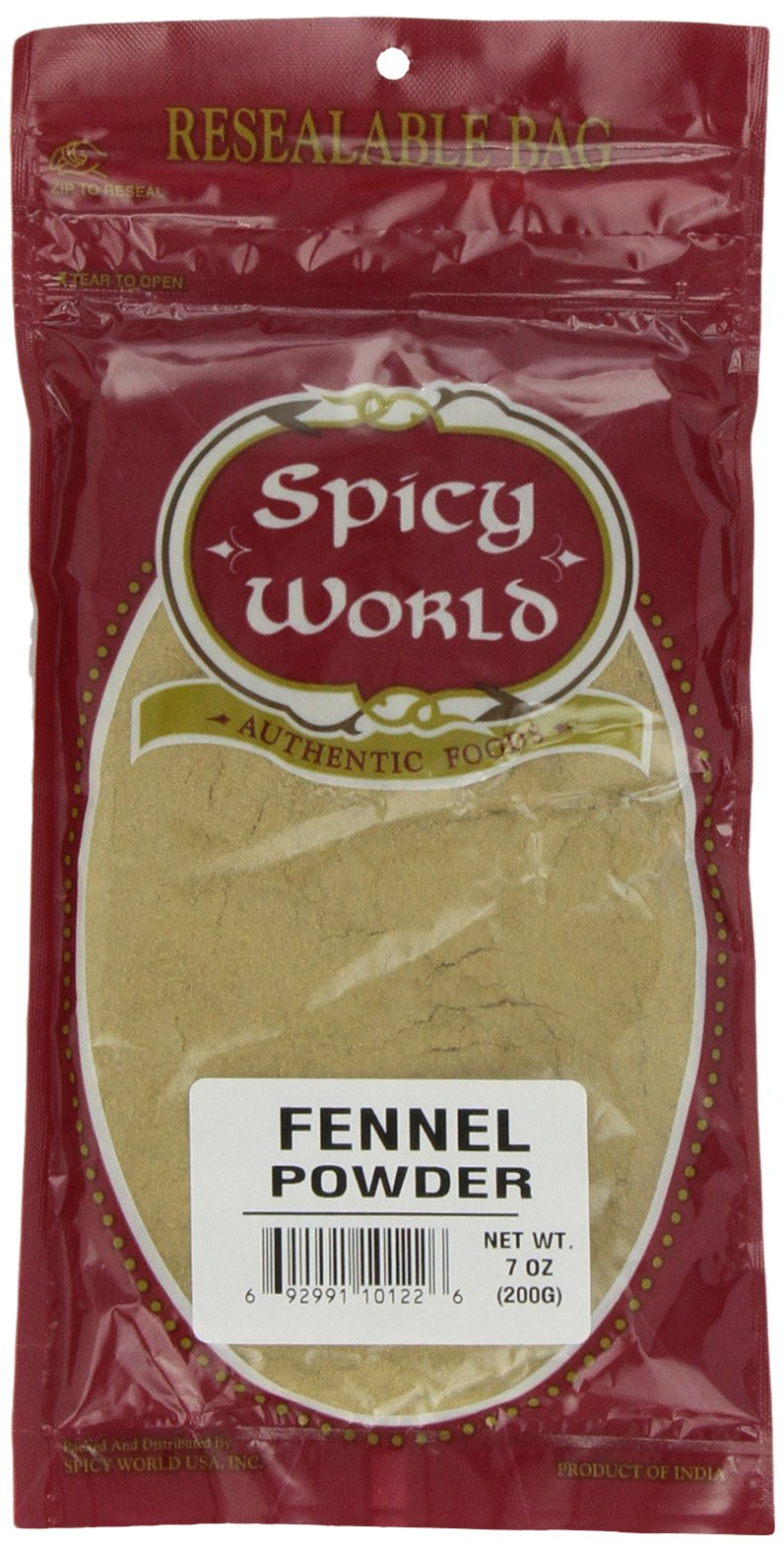 Spicy World Fennel Powder, 7-Ounce Pouches (Pack of 6)
