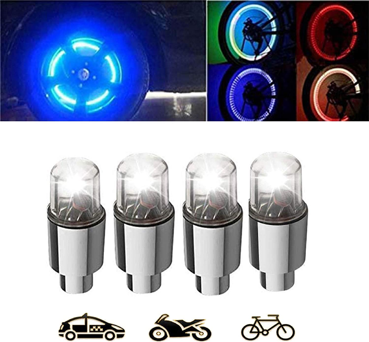 LED Stem Lights Set for Front /& Rear Wheel Waterproof Bright Safety Visibility ME Superb Bicycle Wheel Valve Light 2 Pack Green