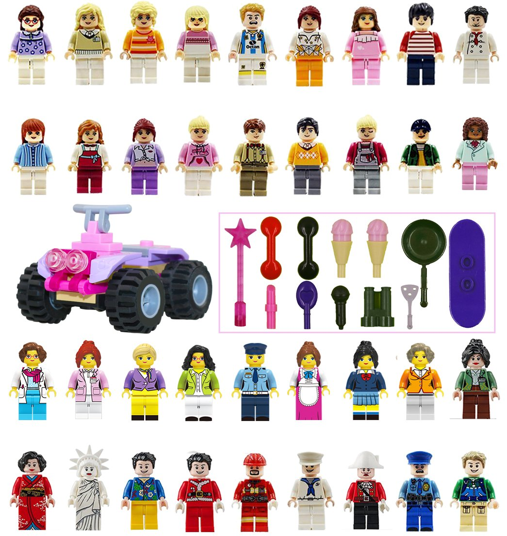 Minifigures Set - 36+13pcs Boys and Girls Mini Community People and Accessories Lego-Compatible Building Bricks for Kids Party, to build More Fun Review