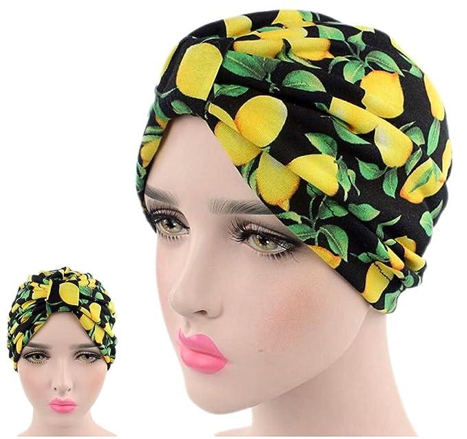 65bff963f4 Limone colori bandane Donne musulmano Turbante elastico Copricapo Signora  Chemo Avvolgere i capelli Beanie Copricapo Hijib