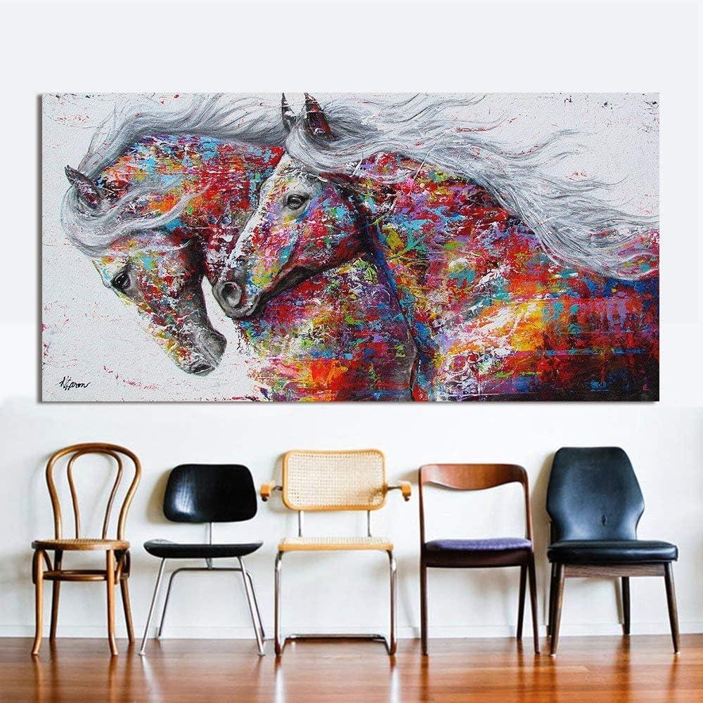 Orlco arte pared arte cuadro lienzo pintura al óleo animal decoración del hogar dos caballos corrientes impresión en lienzo decoración del hogar imágenes cartel colorido decoración hogar 50x101,6 cm