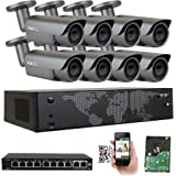 GW Security AutoFocus IP Camera System, 8 Channel H.265 4K NVR, 8 x 5MP HD 1920P Bullet POE Security Camera 4X Optical Motorized Zoom Outdoor Indoor