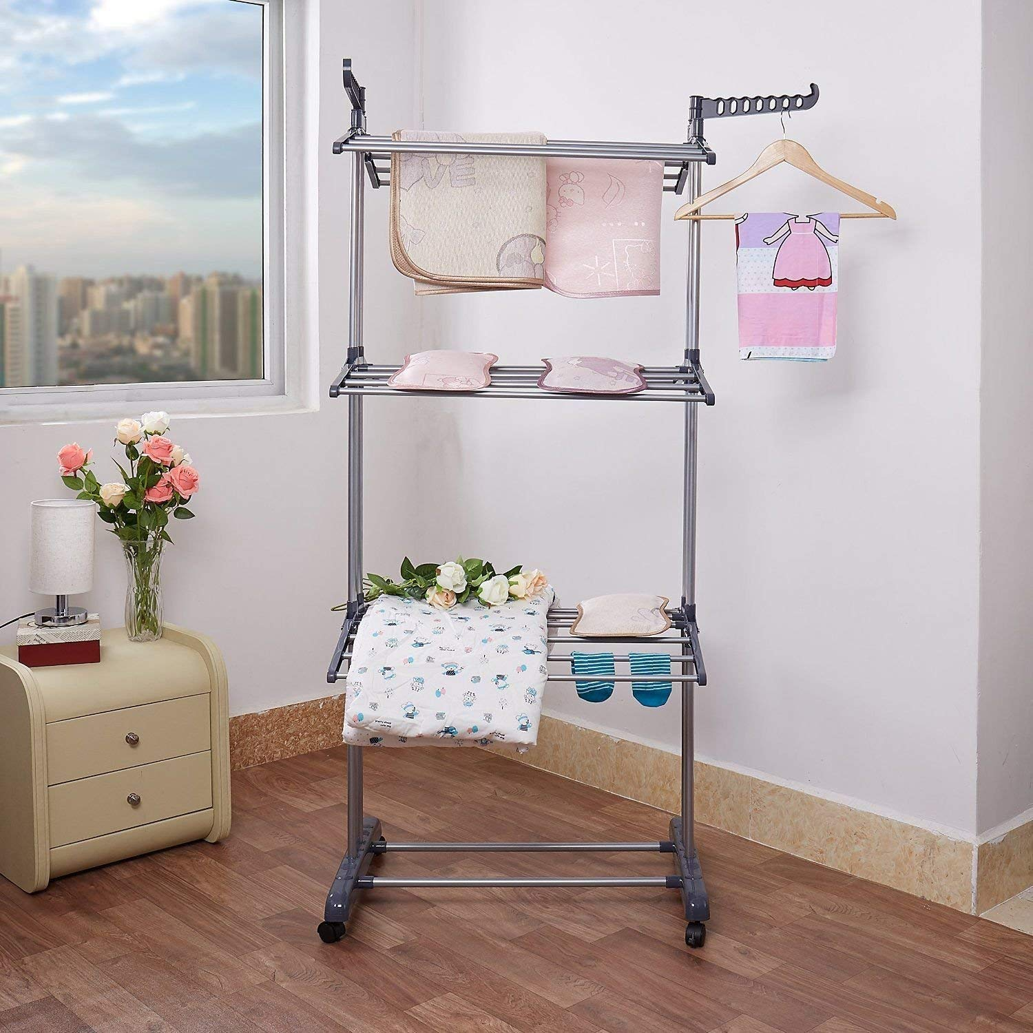 Zerone Laundry Drying Rack Foldable 3 Layer Tier Clothes Airer Hanger Dryer Stand Rack Washing Clothes Folding Horse Airer Indoor Outdoor Laundry Drying Rail Rack Hanger with 2 Hooks and Wheels