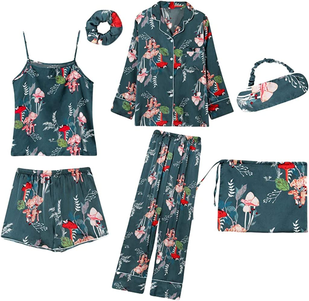 7Pc Soie Femmes Lingerie Camisole Imprimer Shorts Pantalon Pyjama Bandeau V/êTements De Nuit Transparent Ouvert Cuir Blanc Entrejambe Ouver Latex Combinaison Coquine Imprim/é Glac/éE
