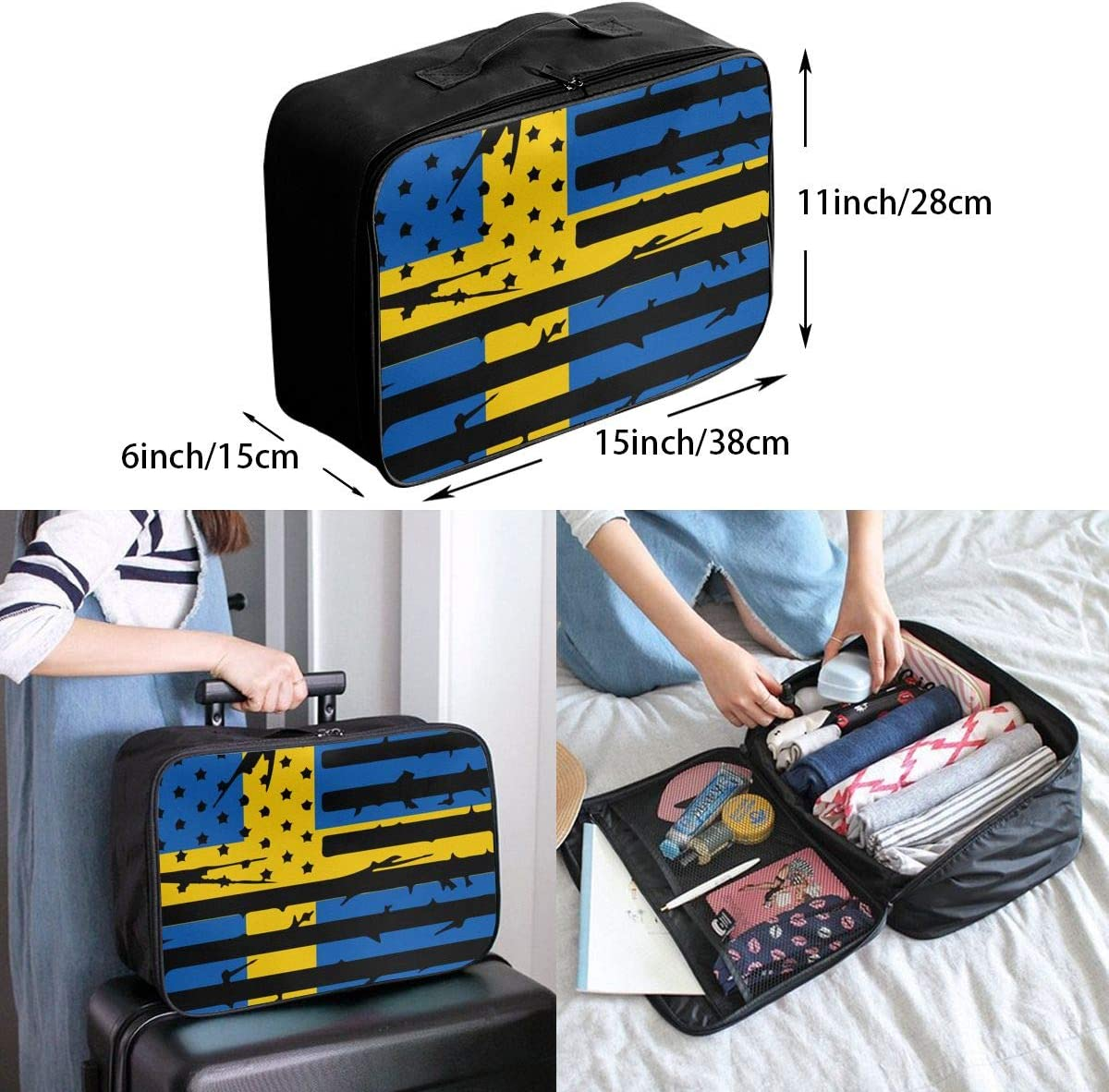 Swedish American Flag Overnight Carry On Luggage Waterproof Fashion Travel Bag Lightweight Suitcases