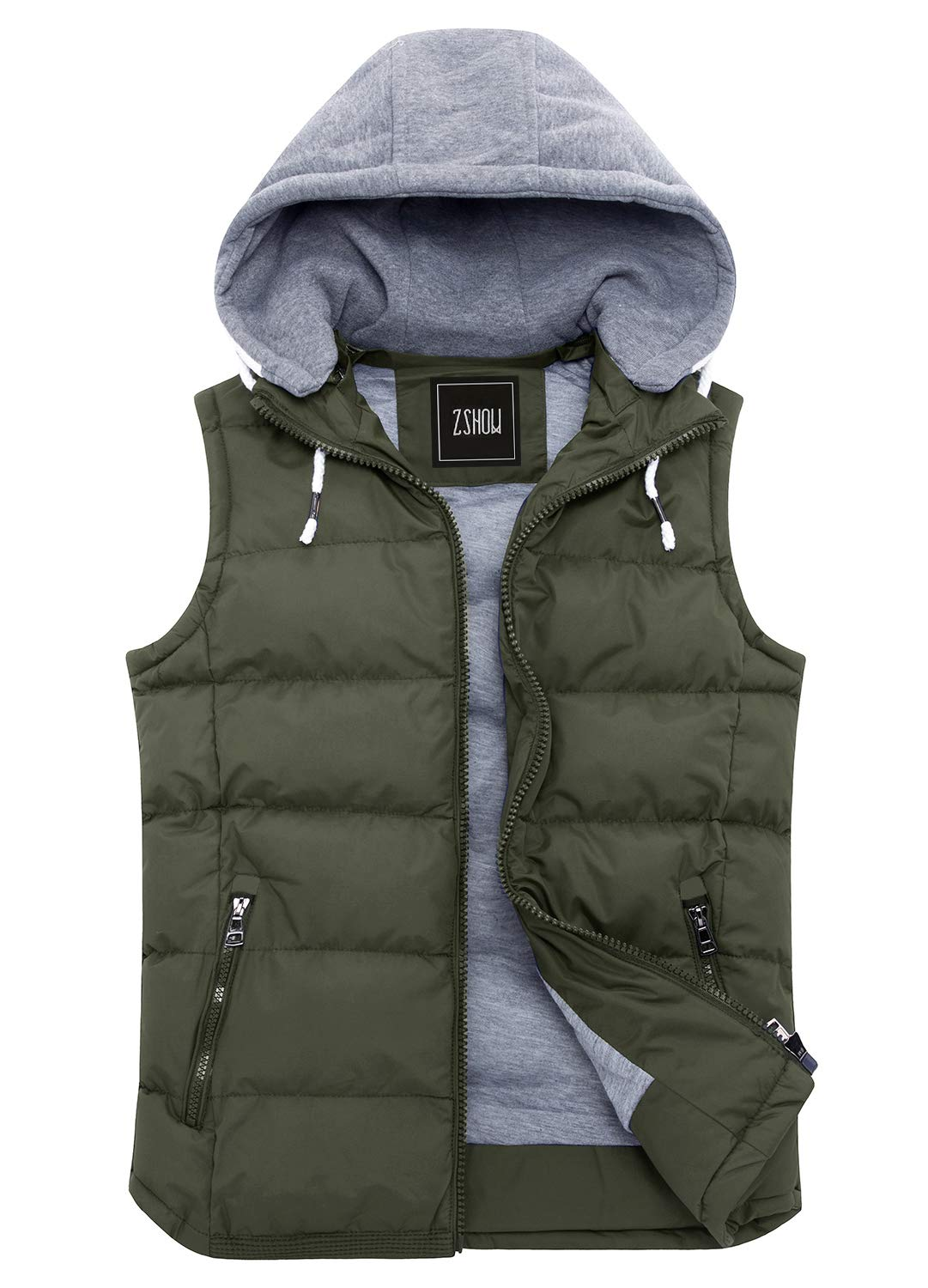 ZSHOW Women's Winter Padded Vest Removable Hooded Outwear Jacket (Army Green, Large) by ZSHOW