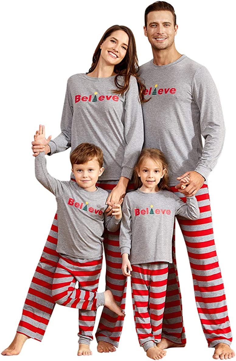 IFFEI Dad Mom Baby Kids Family Matching Pajamas Set Striped Holiday Stay at Home Sleepwear PJ's