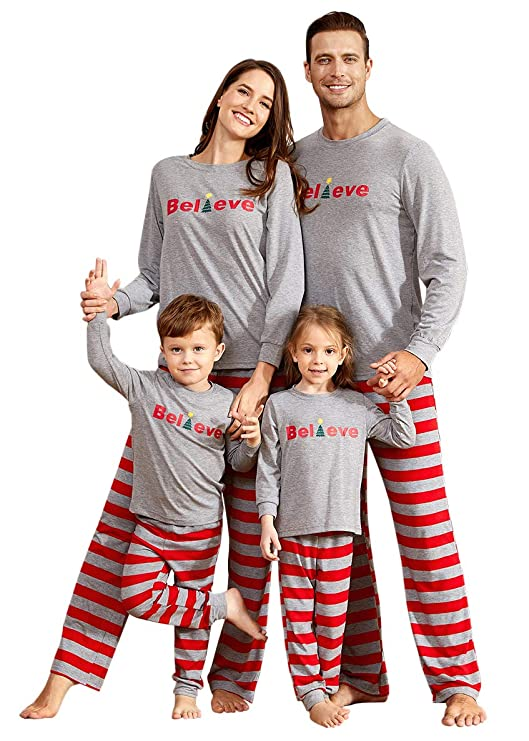 PatPat Dad Mom Baby Kids Family Matching Christmas Striped Pajamas Set Sleepwear best Christmas pajamas for families