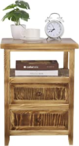 SQPFTW Rustic End Table (Fully Assembled) - Solid Wood Nightstand with 2 Drawers/Side Table/ - No Assembly Required Table for Bedroom, Livingroom and Bathroom, 17
