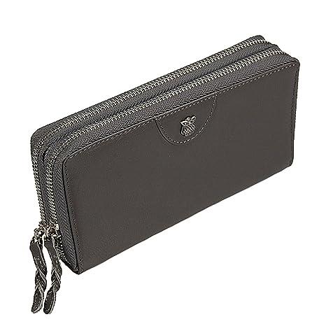 c71609c8d8fd0 Branco Luxus Damen Geldbörse Leder Portemonnaie Geldbeutel XXL Damenbörse  GoBago (Gray)
