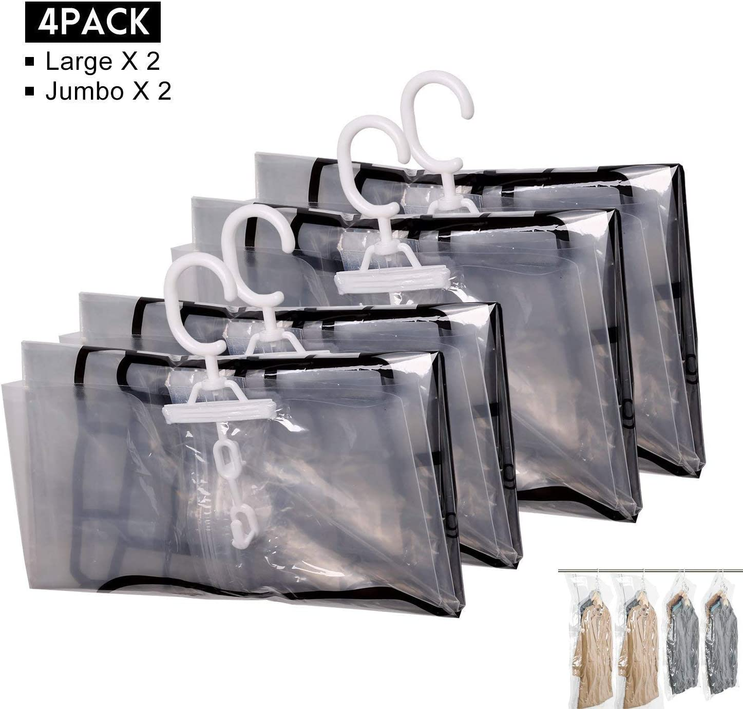 Hanging Vacuum Storage Bags, FoolHome Space Saver Bags for Clothes, Duvets, Pillows & Travel Luggage, 4 Pack(2xJumbo, 2xLarge)