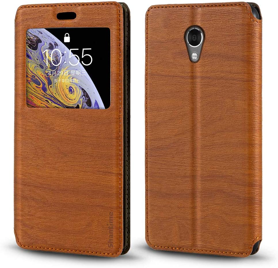 Lenovo Vibe P2 Case, Wood Grain Leather Case with Card Holder and Window, Magnetic Flip Cover for Lenovo Vibe P2