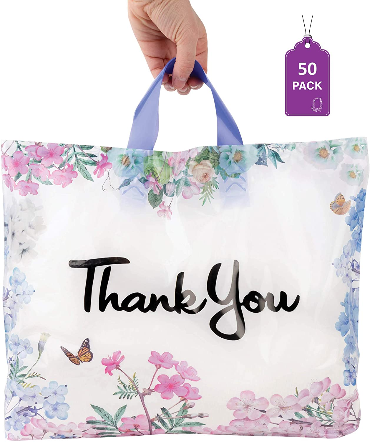 "Floral Thank You Plastic Bags 50 Pack 12"" x 15"" with Soft Loop Handle Thank You Shopping Bags"