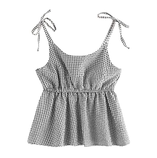 8b0507e1756188 MEEYA Women s Sleeveless Bow Plaid Shirt T-Shirt Vest O Neck Lattice Back  Crop Cami Tops Camisole Shirt Vest Blouse at Amazon Women s Clothing store