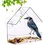 Nature-Decor Window Bird Feeder Outside Clear Acrylic Hanging Bird Feeders with Suction Cup Includes 21 Drain Holes