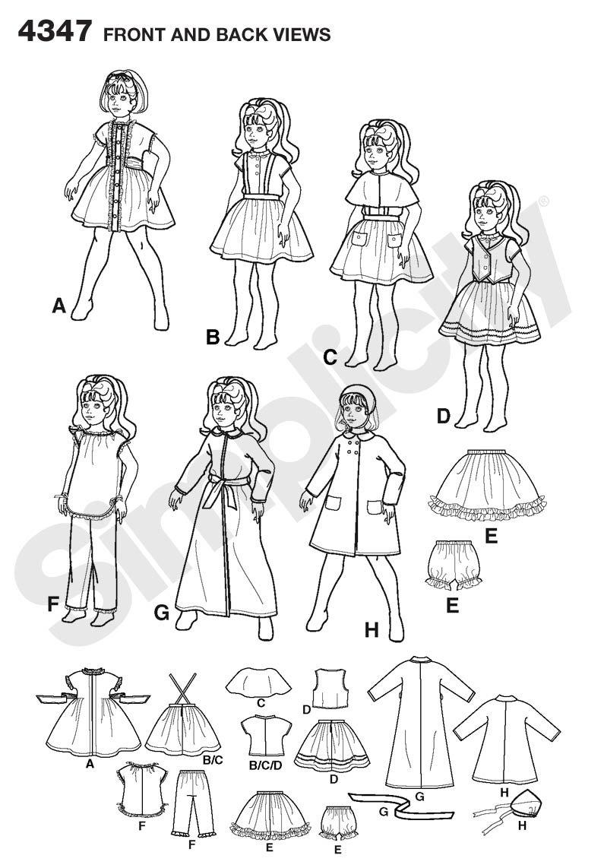 Simplicity 4347 - Patrones de costura para hacer ropa de muñeca ...