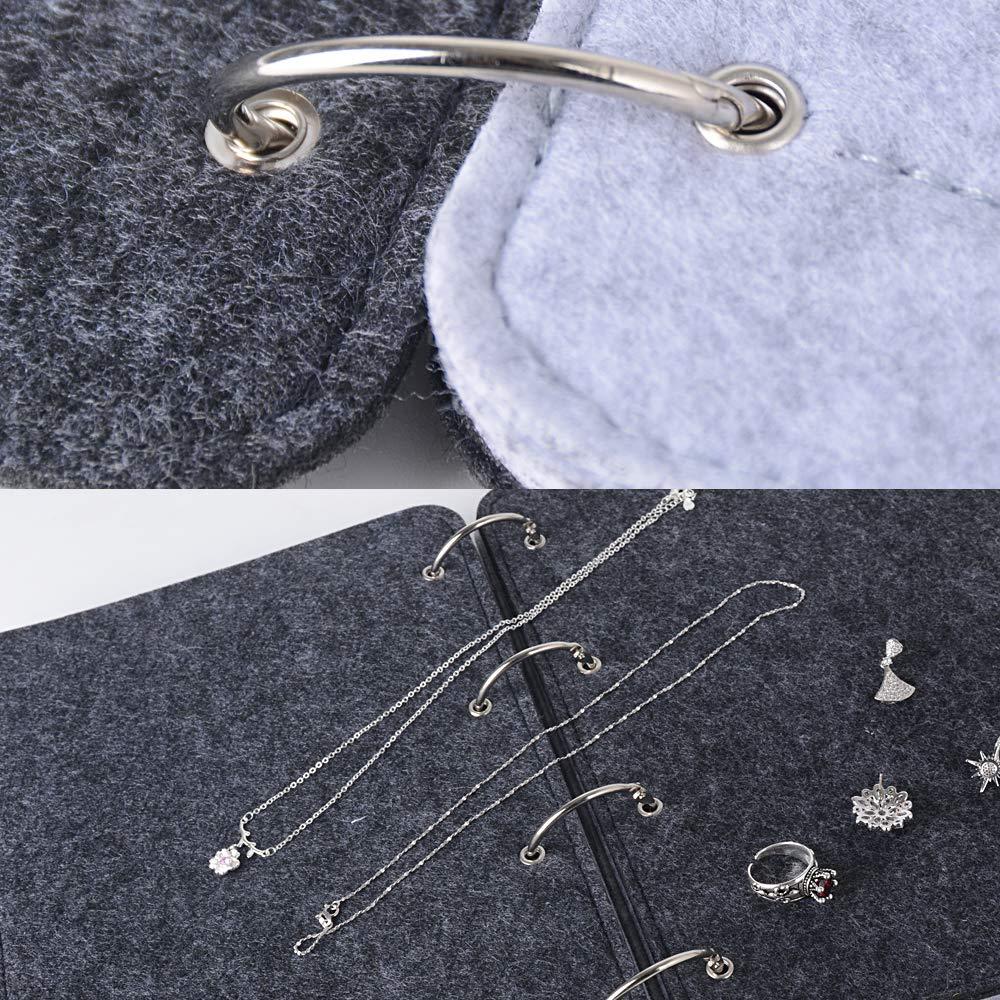 Little Book of Boucles doreilles petit livre de rangement en feutre bo/îte /à bijoux stockage porte bijou pr/ésentoir organisateur 19 * 27 * 2.5cm, gris fonc/é