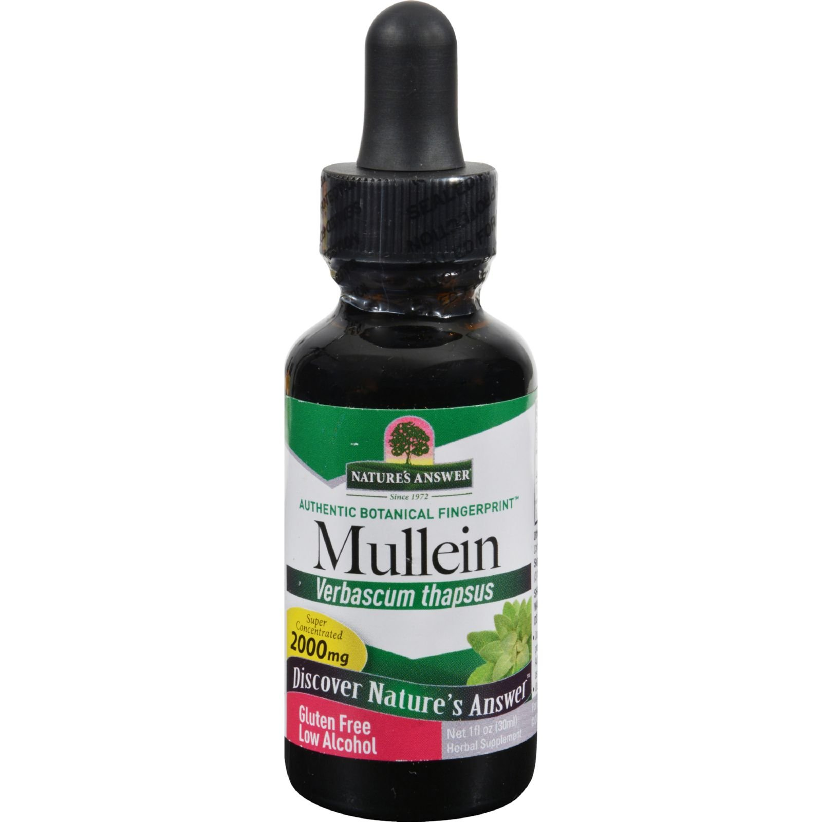 Natures Answer Mullein Leaf - Herbal Supplements - Gluten Free - 1 fl oz (Pack of 2)
